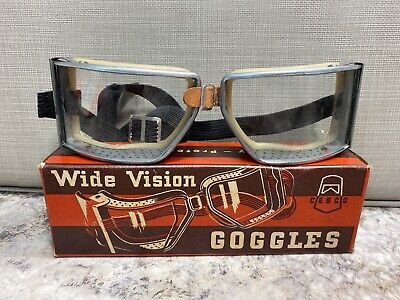 Vintage NOS Cesco Wide Vision Goggles Motorcycle Harley Indian Steampunk