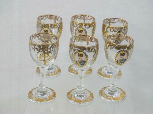 VINTAGE SET OF 6 GLASS CORDIALS GOBLETS Persian Islamic GOLD DECORATED