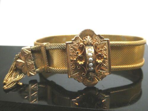 Antique Victorian Gold Filled Mesh Tassel Seed Pearl Adjustable Slide Bracelet
