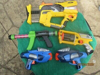 NERF Gun Lot N-Strike Firefly Rev 8 Blaster / Maverick Rev 6 + pair of Air Zone