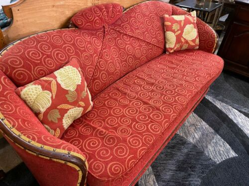 1940 Art Nouveau Sofa with Pillows