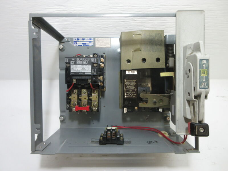 "Square D Model 4 Size 1 Starter 30 Amp Breaker Motor Control Bucket 12"" MCC 30A"