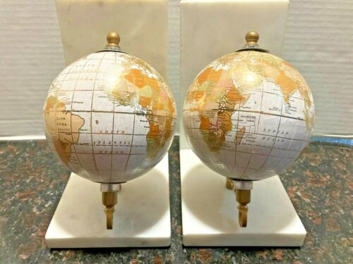 Set of 2, 5 in. x 7 in. Black White & Gold with Light Marble Base Globe Bookends
