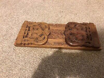 Vintage Carved Wood Folding Book Ends Book Stand Vine Design