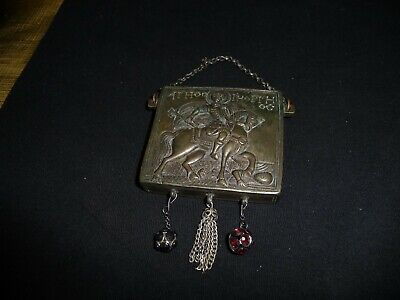 Antique GREEK/ RUSSIAN Bronze icon St. George IN COIN BOX WITH SLIDING OPENER