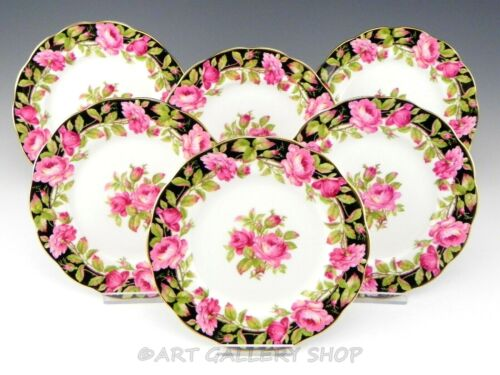 """Vintage Queen Anne BLACK MAGIC ROSES 6.5"""" BREAD AND BUTTER PLATES Set of 6"""