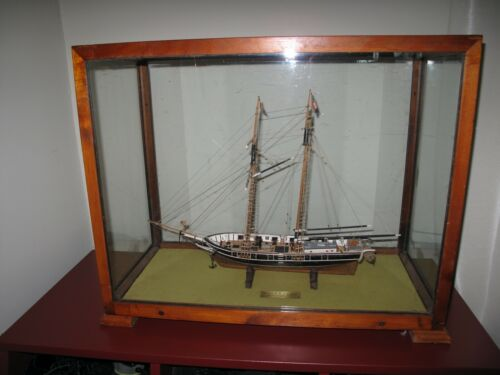 Wooden Model of Cutter Ship ROGER B. TANEY NY 1833 in Glass & Wood Display Case