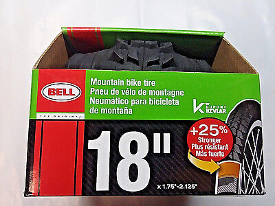 18 x 1.95-2.125 Bell Traction Folding Kevlar Knobby Tire Black NEW In Box Best