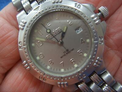 MID SIZE ALL STAINLESS STEEL ADIDAS ADVENTURE DATE WATCH 100M SCREW DOWN CROWN