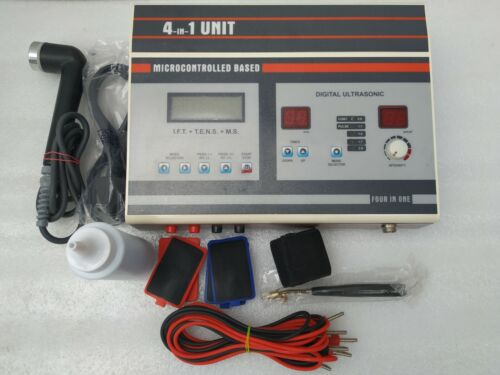 4 in 1 Unit Combo Set 1Mhz IFT MS TENS US Digital Ultrasound Therapy Machine
