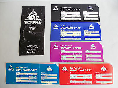 Rare Disneyland Star Tours Opening Cast Premiere Ticket Pass Set of 5 Disney