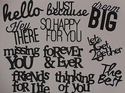 11 sentimental words for greeting card die cuts scrapbook die cut