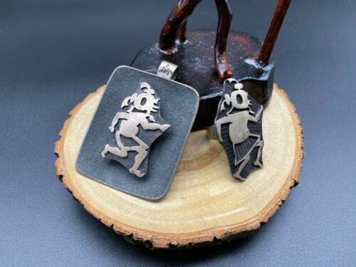 Vintage Hopi Bernard Dawahoya Mudhead Sterling Silver Pendant Ring Size 5.5 Set