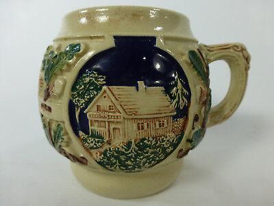 Gerz round Stein deer & cabin design Mug
