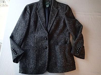 RALPH LAUREN leather buttons BLAZER,SUIT Jacket,SZ 12,wool CHARCOAL  AB