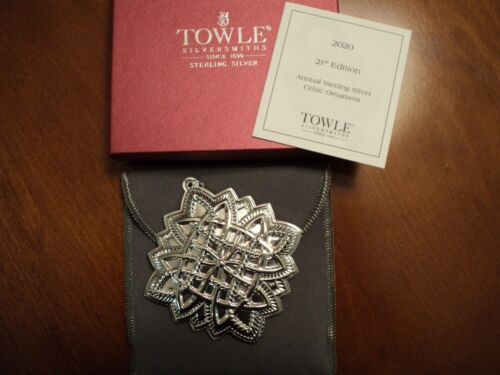 """2020 TOWLE Sterling Silver Elegant """"CELTIC"""" Ornament - 21st Edition"""