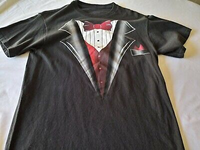 Tuxedo Tshirt Mens or Womans Medium black with red bow tie and vest funny (Tux With Red Vest And Bow Tie)