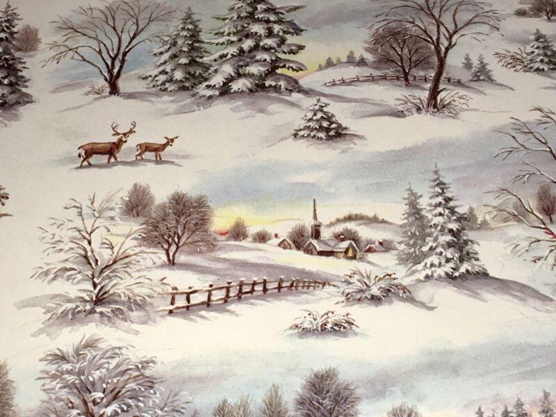 VTG CHRISTMAS HALLMARK WRAPPING PAPER GIFT WRAP WINTER SCENE DEER CARDINALS NOS