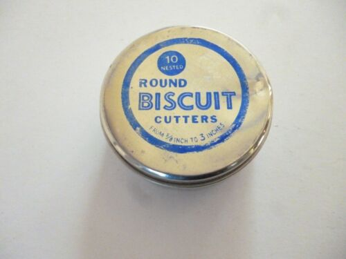 """VINTAGE 10 ROUND BISCUIT CUTTERS 5/8"""" TO 3"""" MADE IN ITALY"""