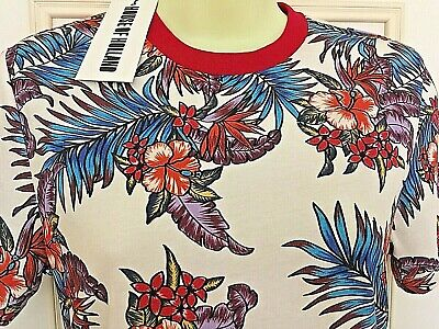 HOUSE OF HOLLAND MULTI COLOURED COTTON FLORAL SHORT SLEEVE T-SHIRT SIZE 8