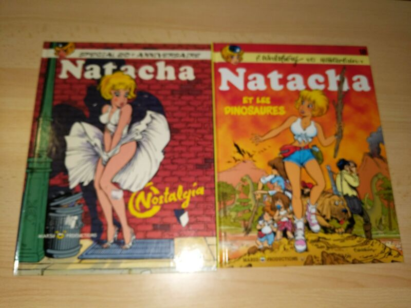 Natacha Books 18 & Anniversary Edition French Comic Lot by Walthery