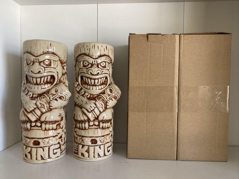 """2 New """"The King"""" Tiki Farm Tiki Mug King Kong Rare  NIB Limited Edition"""