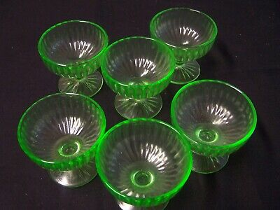 Green Depression Glass Set of 6 Ribbon Sherbets-D-39