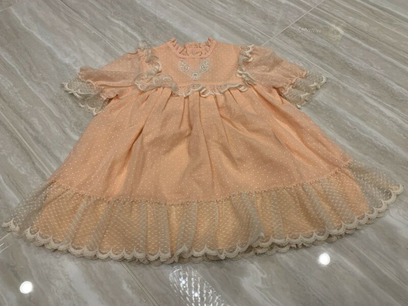 🌸 BEAUTIFUL VINTAGE JILL LYNN GIRL DRESS SIZE 4t 4 ruffle embroidered 2993 🌸