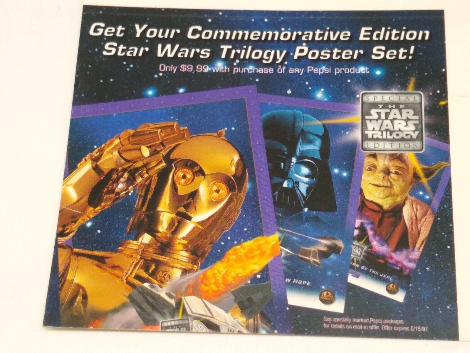 Star Wars 1997 Trilogy Poster Pepsi Store Display Shelf Talker - Unused