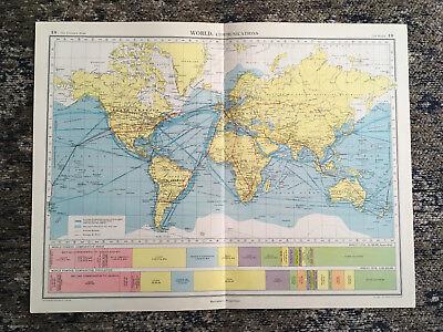 C1952 Antique Map Of World Communications Large J G Bartholomew