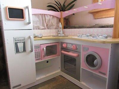 KidKraft Grand Gourmet Deluxe Corner Kitchen Kids Pretend Toy Play Set Pink ()