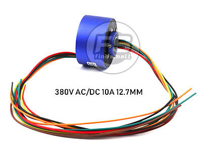 New 6wires 380v Acdc 10a 12.7mm Dia Metal Capsule Conductors Slip Ring Blue