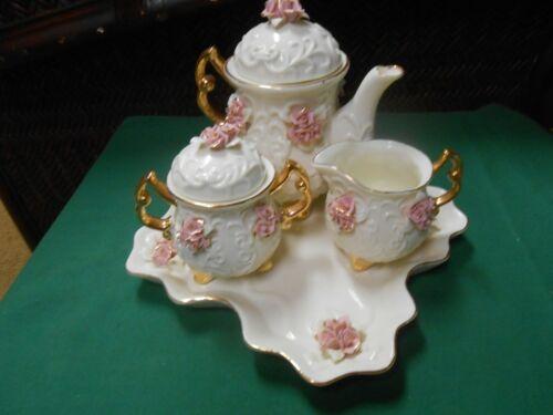 Outstanding Beautiful Porcelain TEA SET Tray-Tea Pot-Sugar & Creamer-Gold Trim