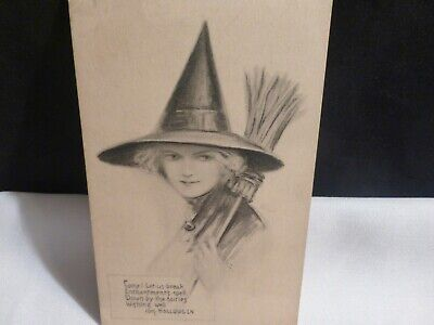 Vintage'-Come Let's Break Enchantments Spell-Halloween Postcard-By Fairman