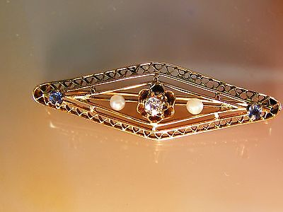 10k Antique Vintage Diamond Pearl Sapphire BROOCH Yellow Gold Filigree