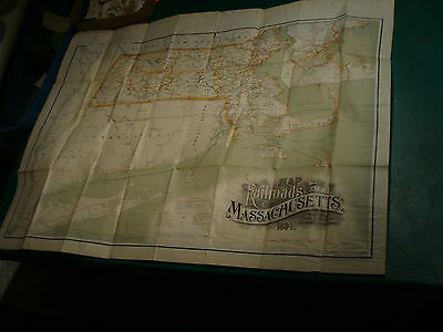 Original 1894 Map of the Railroads of the state of MASSACHUSETTS wright & potter