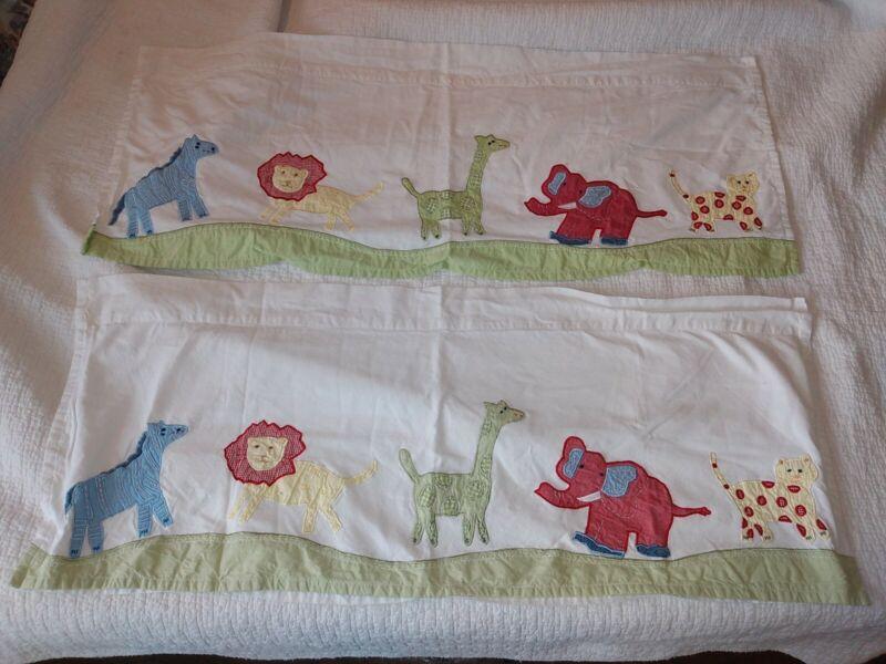 "2 Pottery Barn Kids Safari Valance Curtain Zoo Animals Giraffe Elephant 42""x17"""