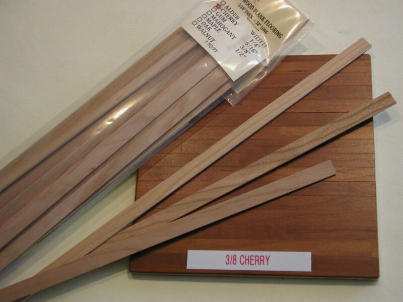 """Dollhouse Miniature 3/8"""" Wide Cherry Wood Plank Flooring  1"""" Scale The very BEST"""
