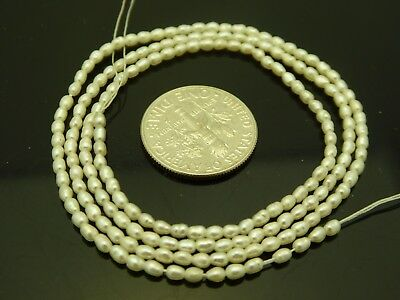 White Freshwater Pearls Tiny High Quality 2.5mm x 1.5mm Rice Beads Std.17""