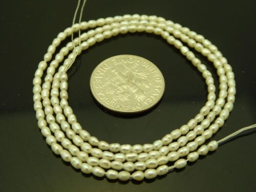 """White Freshwater Pearls Tiny High Quality 2.5mm x 1.5mm Rice Beads Std.17"""""""