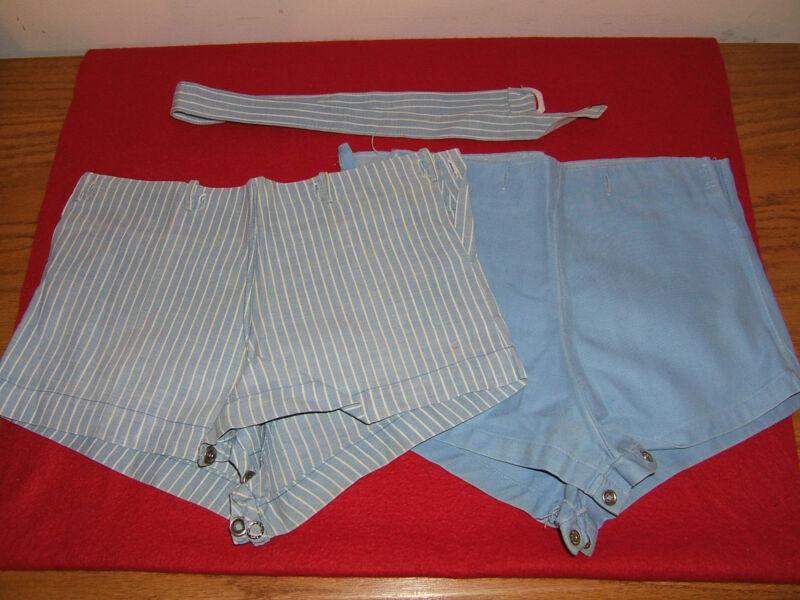 Vintage Toddler Boys Blue & Blue Stripe Shorts w/ Sash Belt 3 Pc. Set