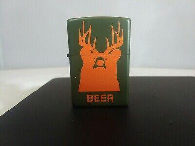 Zippo Bradford Beer Bear Army Green Blaze Orange Lighter New  MADE in USA