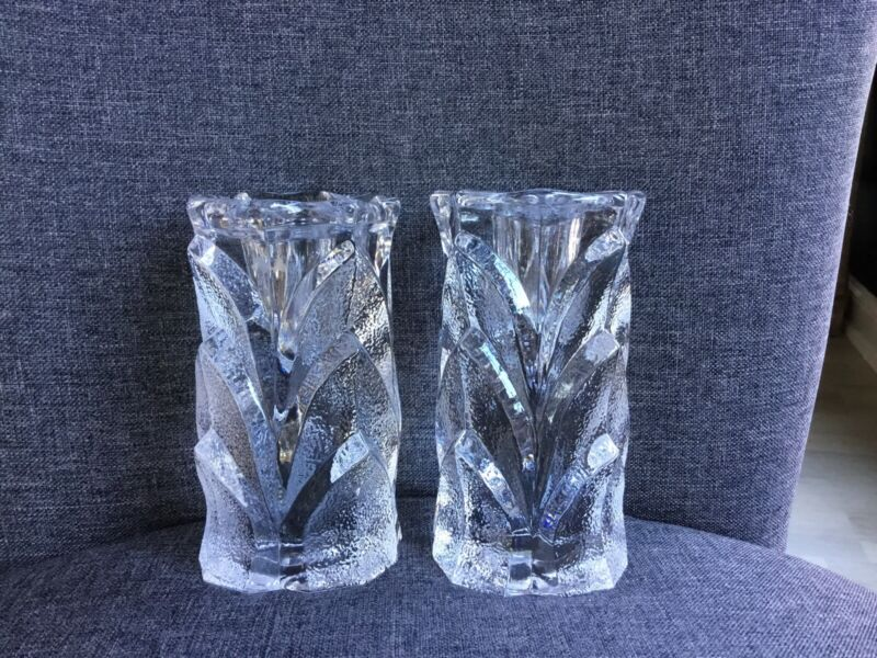 RARE Pair Orrefors Crystal Detailed Candlesticks Sweden 5 Inch