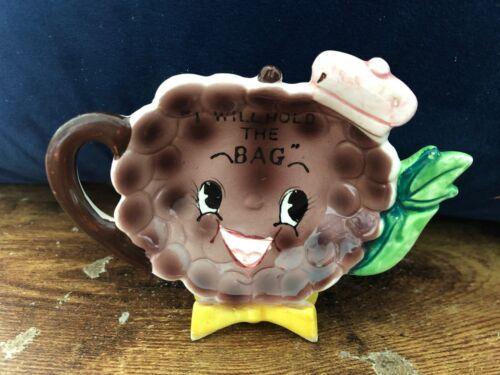 Vintage NAPCO Tea Bag Holder Grape Berry Head Hat Anthropomorphic