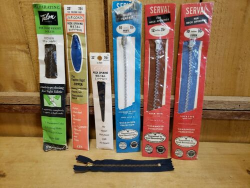 Vintage Metal Zipper Lot of 7 SERVAL TALON J&P COATS & CLARK