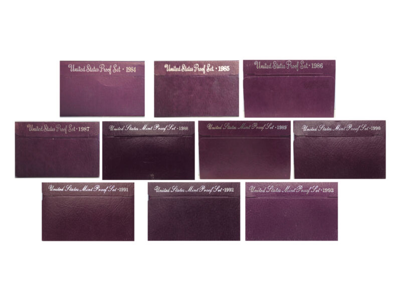 1984 - 1993 Proof set run Purple Box - 10 box lot CN-Clad US MINT - (OGP) 50 Co