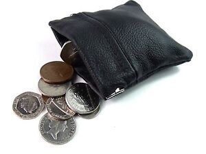 MENS LADIES NEW GENUINE BLACK LEATHER COIN POUCH PURSE WALLET