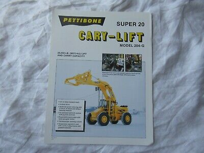 1991 Pettibone Super 20 204-g Cary-lift Specification Sheet Brochure