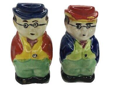 1950s Mens Suits & Sport Coats   50s Suits & Blazers Old Men Hats Glasses Suit Vtg Japan Ceramic Painted Salt & Pepper Shakers Set $18.99 AT vintagedancer.com