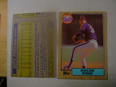 1987 # 757 Nolan Ryan Topps Houston Astros Pitcher Error Atherton infm on - Astros Pitcher